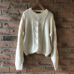 DEVOTED | Cream soft knit open detailed sweater